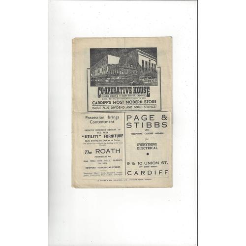 1947 Wales v England Football Programme