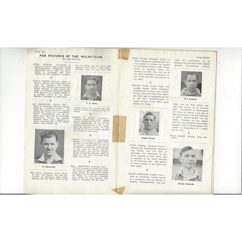 1949 Wales v England Football Programme