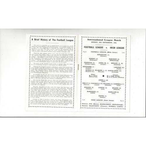 Football League v Irish League Football Programme 1948