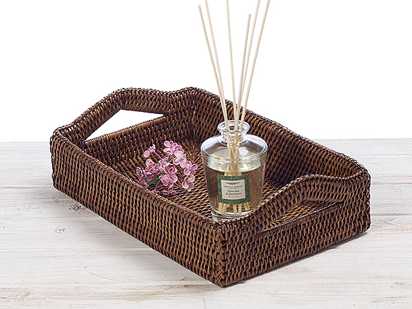 Set of 3 Rattan Tray with Handles