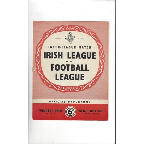 Irish League v Football League Football Programme 1961