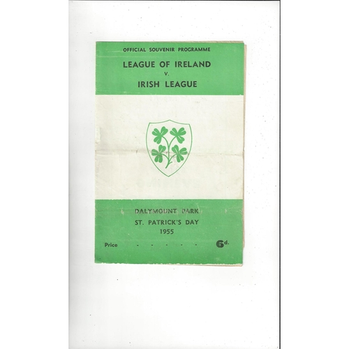 League of Ireland v Irish League Football Programme 1955