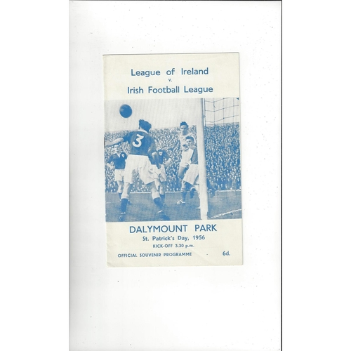 League of Ireland v Irish League Football Programme 1956