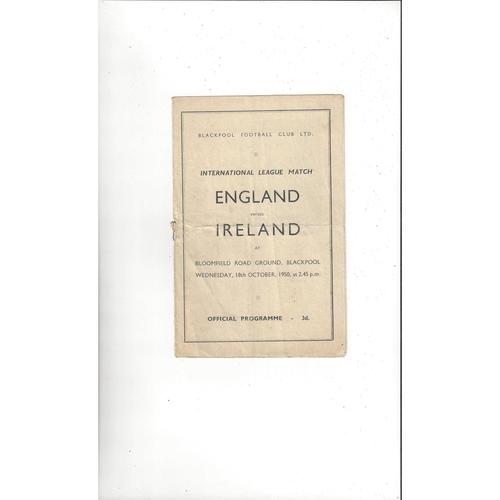 England v Ireland Inter League Football Programme 1950 @ Blackpool