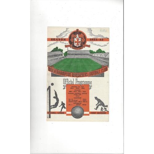 Football League v Irish League Football Programme 1952 @ wolves