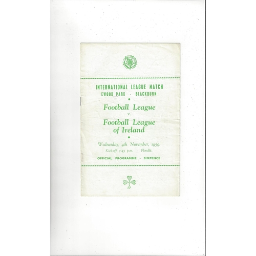 Football League v Irish League Football Programme 1959 @ Blackburn Rovers