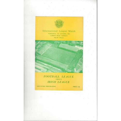 Football League v Irish League Football Programme 1962 @ Norwich City