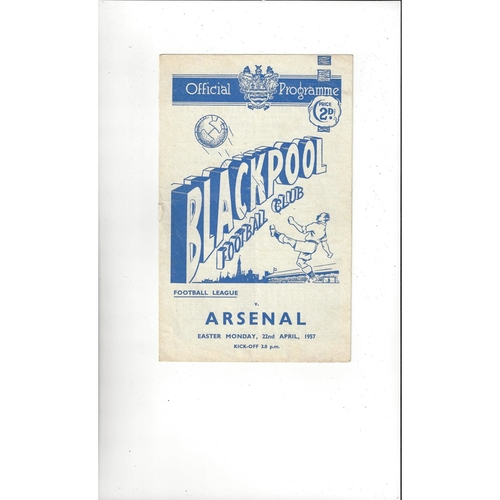 1956/57 Blackpool v Arsenal Football Programme