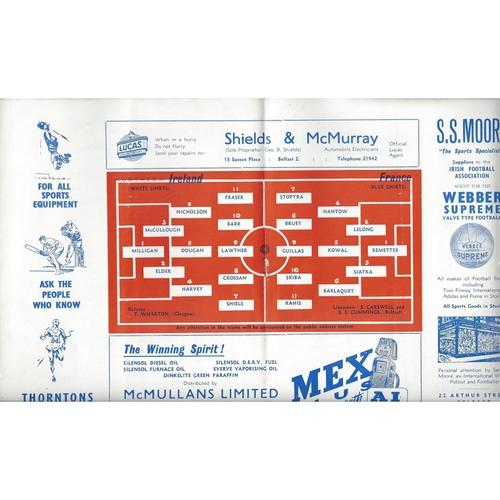 1959 Northern Ireland v France 'B' International Football Programme