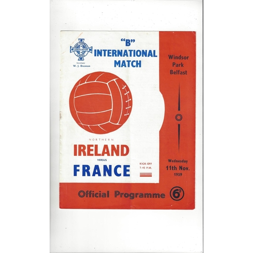 1959 Northern Ireland v France 'B' International Football Programme