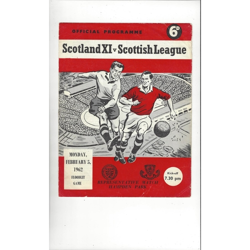 Scotland X1 v Scottish League Friendly Football Programme 1962