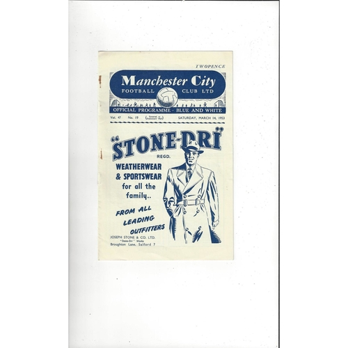 1952/53 Manchester City v Aston Villa Football Programme