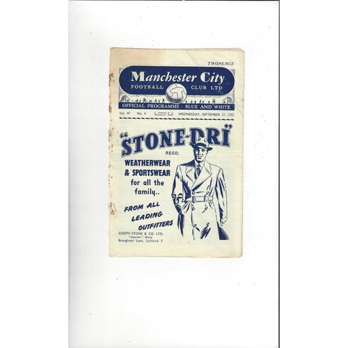 1952/53 Manchester City v Burnley Football Programme