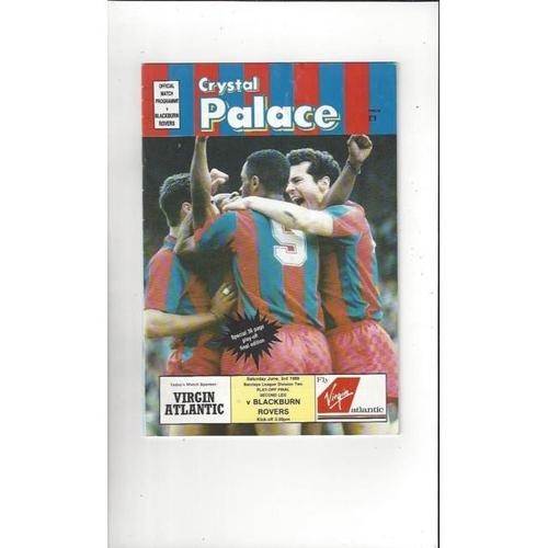 1989 Crystal Palace v Blackburn Rovers Play Off Football Programme