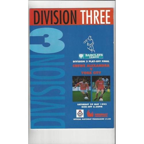 1993 Crewe Alexandra v York City Div 3 Play Off Final Football Programme