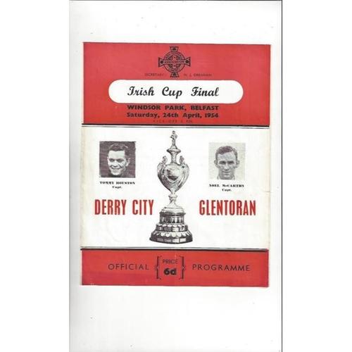 1954 Derry City v Glentoran Irish Cup Final Football Programme