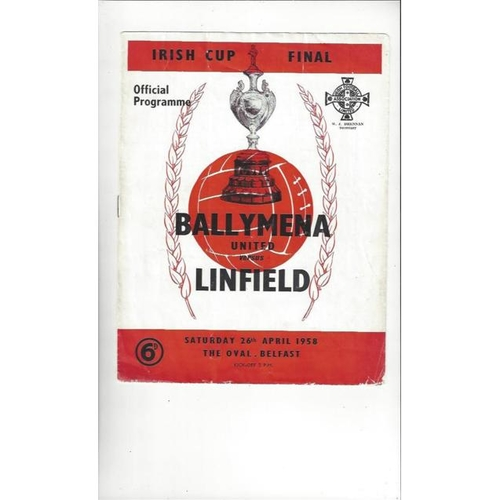 1958 Ballymena v Linfield Irish Cup Final Football Programme
