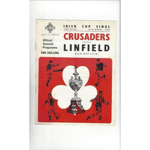 1968 Crusaders v Linfield Irish Cup Final Football Programme