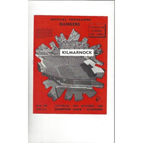 1960 Rangers v Kilmarnock Scottish League Cup Final Football Programme