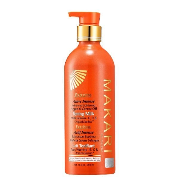 Makari Extreme Carrot & Argan Oil Skin Toning Milk 16.8oz Lightening, Brightening & Tightening Body Lotion with Organiclarine Whitening & Anti-Aging Treatment for Dark Spots, Acne
