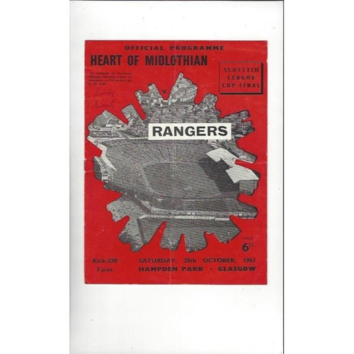 1961 Hearts v Rangers Scottish League Cup Final Football Programme