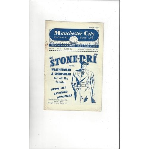 1952/53 Manchester City v Manchester United Football Programme