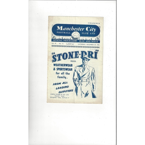 1952/53 Manchester City v Preston Football Programme Postponed