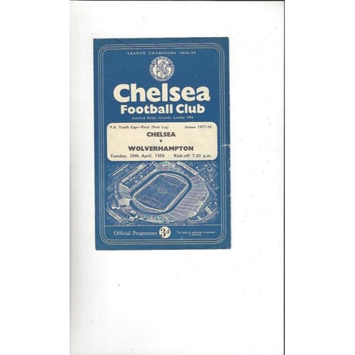 1958 Chelsea v Wolves FA Youth Cup Final Football Programme