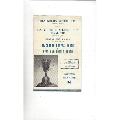 1959 Blackburn Rovers v West Ham United FA Youth Cup Final Football Programme