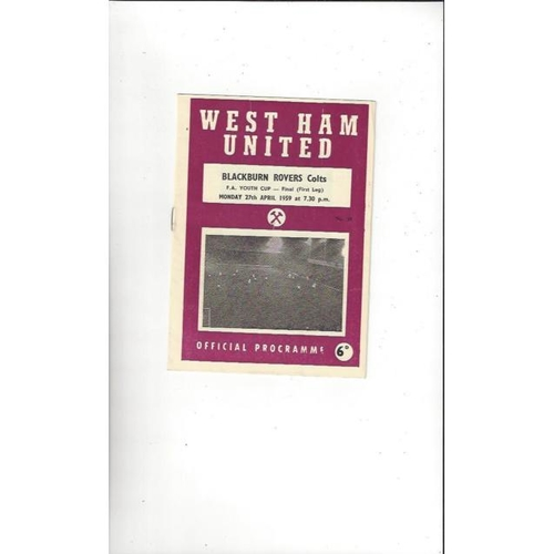 1959 West Ham United v Blackburn Rovers FA Youth Cup Final Football Programme