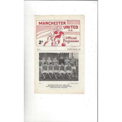 1964 Manchester United v Swindon Town FA Youth Cup Final Football Programme