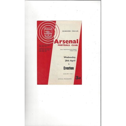 1965 Arsenal v Everton FA Youth Cup Final Football Programme