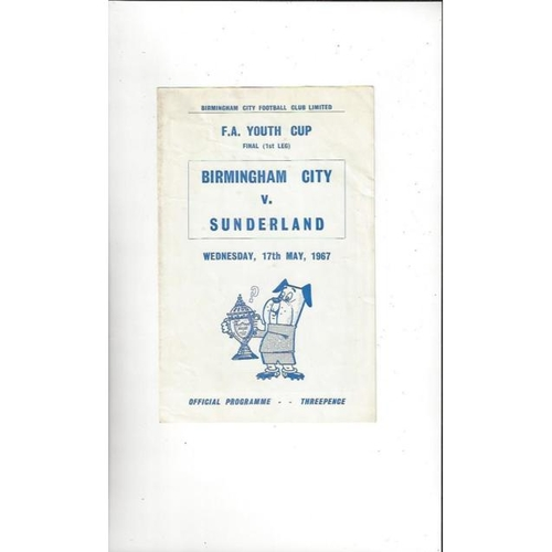 1967 Birmingham City v Sunderland FA Youth Cup Final Football Programme