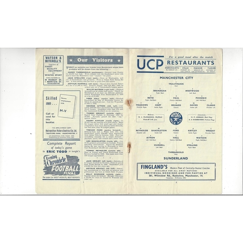 1952/53 Manchester City v Sunderland Football Programme