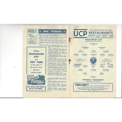 1952/53 Manchester City v Sheffield Wednesday Football Programme