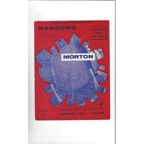 1963 Rangers v Morton Scottish League Cup Final Football Programme