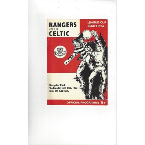 1973/74 Rangers v Celtic Scottish League Cup Semi Final Football Programme
