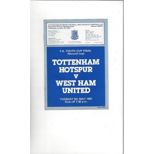 1981 Tottenham Hotspur v West Ham United FA Youth Cup Final Football Programme
