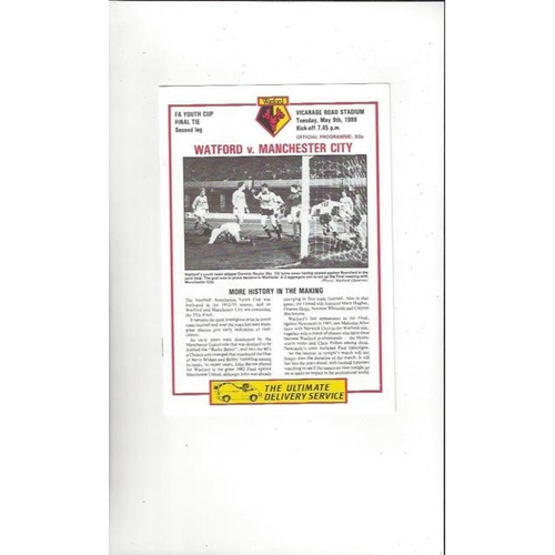 1989 Watford v Manchester City FA Youth Cup Final Football Programme
