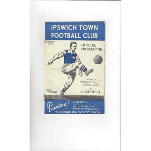 1936/37 Ipswich Town v Aldershot Southern League Football Programme