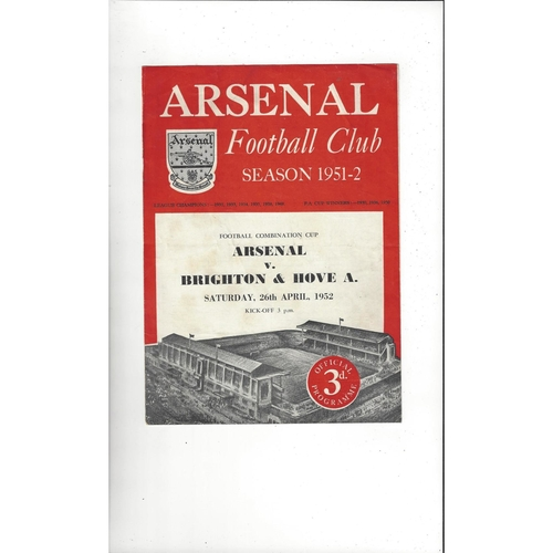 Arsenal v Brighton Combination Cup Football Programme 1951/52