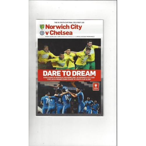 2013 Norwich City v Chelsea FA Youth Cup Final Football Programme