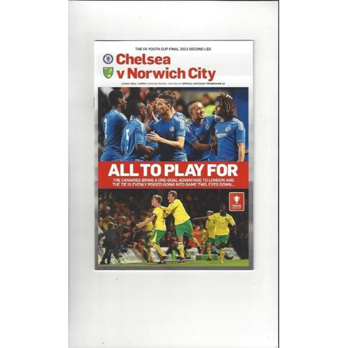 2013 Chelsea v Norwich City FA Youth Cup Final Football Programme