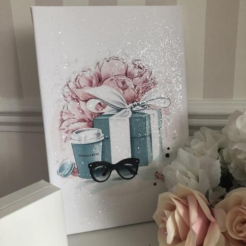 Glitter Blue & Pink Gift Box & Canvas