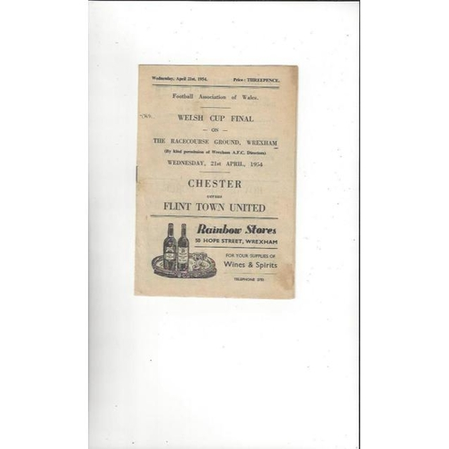 1954 Chester v Flint Town United Welsh Cup Final Football Programme