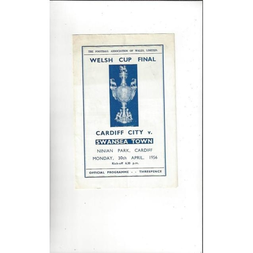 1956 Cardiff City v Swansea Welsh Cup Final Football Programme
