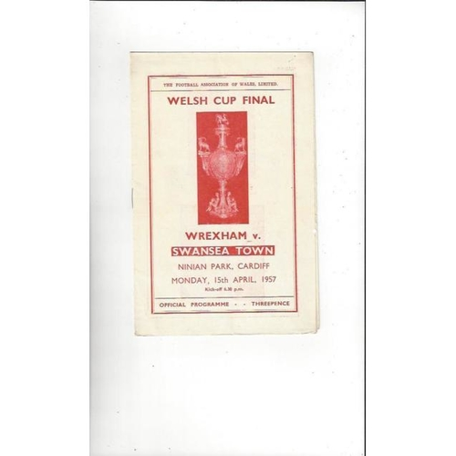 1957 Wrexham v Swansea Welsh Cup Final Football Programme