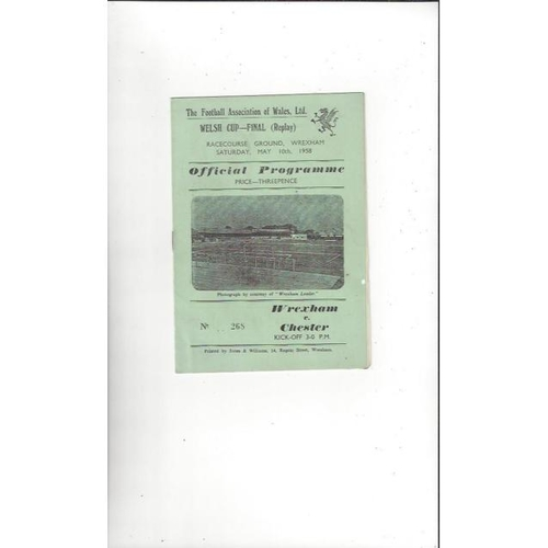 1958 Wrexham v Chester Welsh Cup Final Replay Football Programme