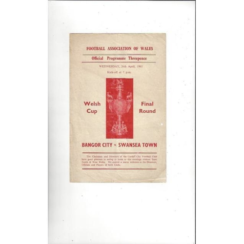 1961 Bangor City v Swansea Welsh Cup Final Football Programme
