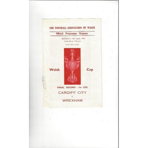 1965 Cardiff City v Wrexham Welsh Cup Final Football Programme